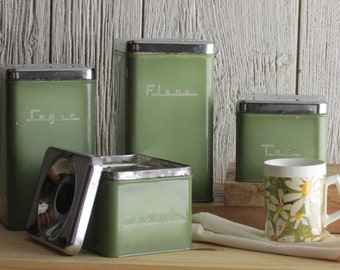 retro style - vintage kitchen decor - canisters - avocado green
