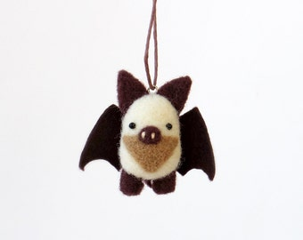 Tiny bat, needle felted animal ornament : white and dark brown, woodland miniature charm.
