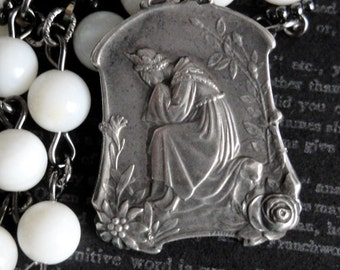 LA SALETTE Antique Art Nouveau French Medal Necklace. Sterling Silver. White MOP Shell Rosary Chain. One Of A Kind. Renaissance Assemblage
