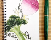 Watercolor Broccoli and Turnip Notebook, 4 x 6 inches, blank pages