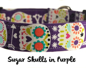 Sugar Skulls in Purple - Multicolored Dog Collar
