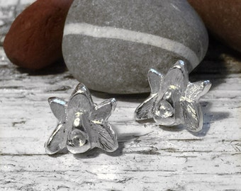 SALE - Handmade sterling silver orchid flower studs - pretty flowers - orchid lover - flower jewellery - jewelry  - Valentine's gift