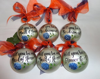 Will you be my Bridesmaid?Blue Hydrangea Ornaments, Bridesmaids, Maid of honor. Wedding party gifts. Will you be my Bridesmaid?