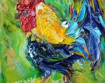 Original oil painting Rooster 6x6 palette knife impressionism on canvas fine art by Karen Tarlton