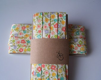3 Yards Handmade Cotton Bias Tape Binding Spring Floral 1/2 Inch Double Fold