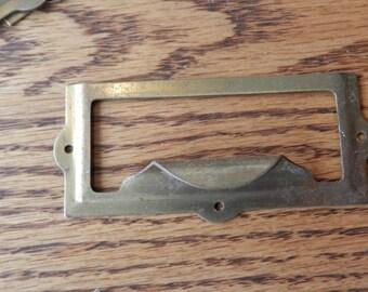 1 vintage brass plated file card label pull vintage