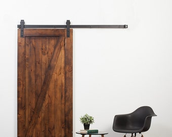 Rustica Hardware Z-Barn Door in Stain, Glaze, and Clear Coat with Industrial Hardware - Unassembled