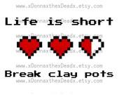 Life is short, break clay pots digital download, Legend of Zelda. 6 colorful images. yellow pink blue purple green