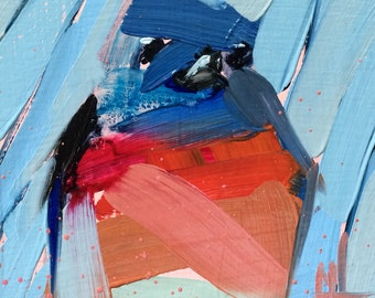 Lazuli Bunting no. 7 Original Bird Oil Painting by Angela Moulton 4 x 4 inch on Birch Plywood Panel pre-order