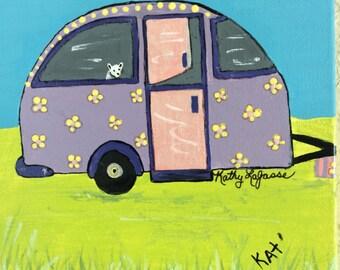 """Original purple cool camper. 6""""x6""""."""