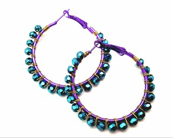 Purple Earrings - Teal Earrings - Beaded Hoop Earrings - Boho Hoop Earrings - Mardi Gras Jewelry - Wire Wrap Earrings -Gift for her Birthday