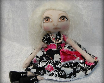 ROSE Elegant Fashionista Mood fabrics  ooak Primitive folk art doll big eye collectable Home decor OOAk