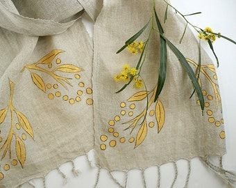 Organic Linen Scarf - Hand printed Scarves - Golden Wattle - Long Floral Cotton Scarf