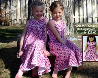 FREE SHIPPING/Size 4/5-girls **Last One** 100% Cotton Knit Nightgown /Full Length, Eyelet Trim//Ready to Ship //mid-weight fabric (9 oz)