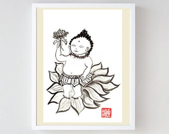 Jizo, Baby Buddha Zen Fine Art Sumi-e ink Painting, zen decor, zen illustration, nursery art, spiritual art, childs room art, yoga, japan