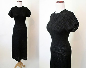 Clearance Classic Early 1950's Black Curve Hugging Woven Ribbon Dress Rockabilly VLV Pinup Girl Vixen Hourglass Curvy Size-Medium