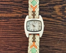 Small Ladies Watch - Harper Watch with Small White Enamel Face and Silk and Cotton Embroidered Band