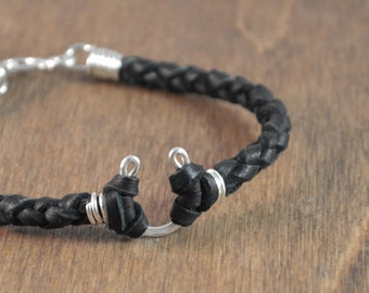 Father's Day Gift - Men's Lucky Horseshoe Leather Bracelet - Sterling Silver with Choice of Deer Hide Leather