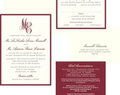 Custom wedding invitation listing for LaKiesha (65) JPress Designs, monogram wedding, red, cream, elegant, classic, simple
