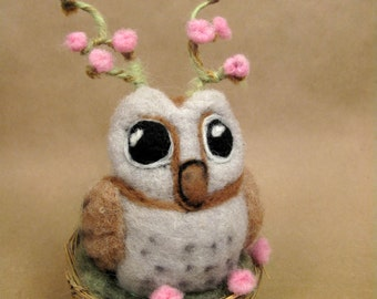 Horned Owl needle felted friend