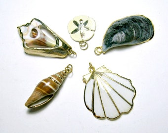 Gold Dipped Shell Pendant Set, Five Vintage Gold Dipped Nature Shell Pendants, 5 Gold Dipped Rimmed Shell Pendants, Set of Shell Pendants