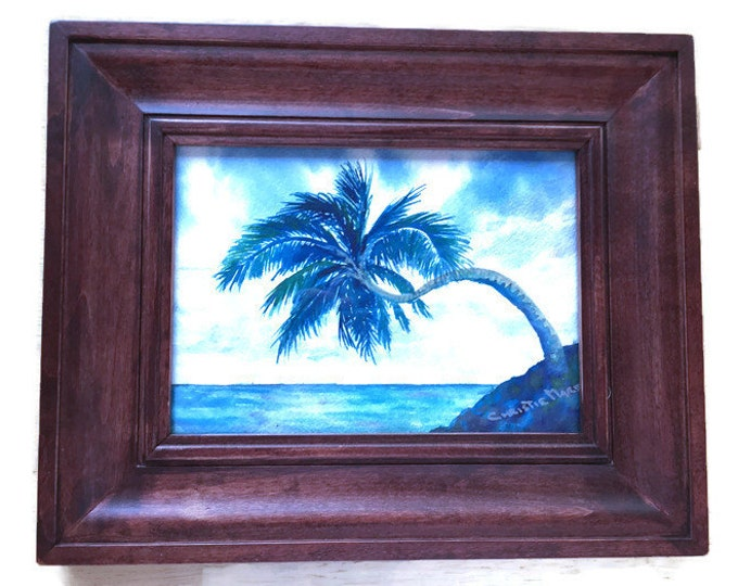 "Original Watercolor Painting Tropical Hawaiian Decor Peaceful Island Palm Tree Art Blue Pacific Ocean 5"" x 7"" Framed OOAK Christie Marie Art"