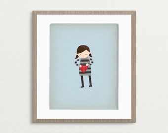 Girl Mending a Broken Heart - Customizable 8x10 Archival Art Print