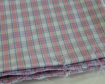 Vintage Fabric vintage retro Plaid shirting fabric vintage retro plaid dress fabric pink blue yellow retro plaid dress shirt fabric 3yd