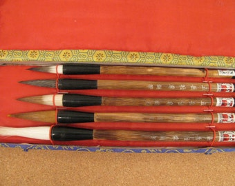 Japanese Calligraphy / Sumi Brushes - Vintage Set of 6 in Satin Lined Box - Unused - Like New - Gift Quality
