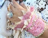 pink beaded cuff, boho beaded cuff, pink lace cuff, festival embroidered cuff, textile bracelet, fiber art cuff, tattered lace cuf