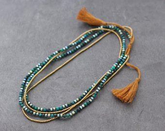 Malachite Stone Crystal Tassel Long Necklace Wrap Bracelet