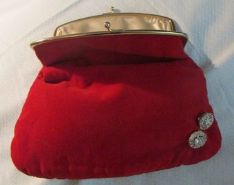 Red Velvet Evening Clutch Bag Purse Free Shipping
