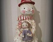 Snowman with a doll-  paper mache-  folk art dol -hand made doll- Christmas
