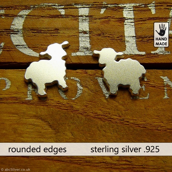 Tiny cute SHEEP's hand cut sterling silver .925, studs, earrings, handmade