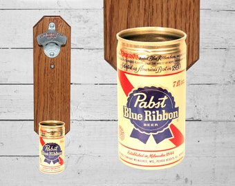 Wall Mounted Bottle Opener with Vintage Pabst Blue Ribbon Beer Can Cap Catcher - 7oz Mini Can PBR Gift for Guy