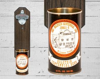 Holstein Centennial Bottle Opener with Vintage Beer Can Cap Catcher - Groomsmen Gift Oktoberfest
