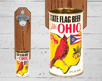 Bar Gift Ohio State Flag Bottle Opener with Vintage Wall Mounted Beer Can Cap Catcher - Groomsmen Gift
