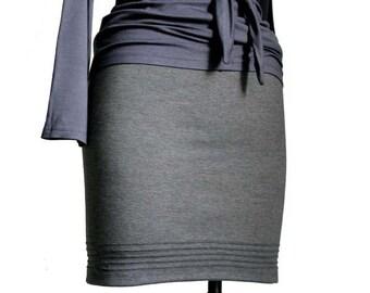 Pencil Skirt, Fitted skirt, Grey Jersey Everyday skirt, Plus size skirt, Elastic waist skirt, Casual skirt, Office skirt, Straight skirt