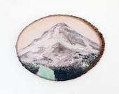 Mountain //  9 x 12 art print on wood round