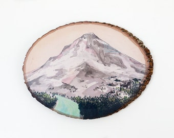 Mountain //  9 x 12 art print on wood round