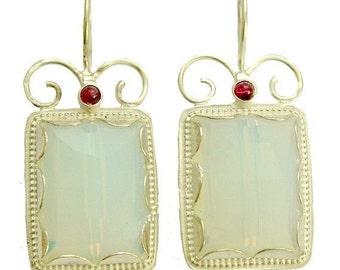 Bridal earrings, gemstone earrings, square earrings, silver earrings, opalite garnet earrings, bohemian jewelry - Once upon a time - E7755