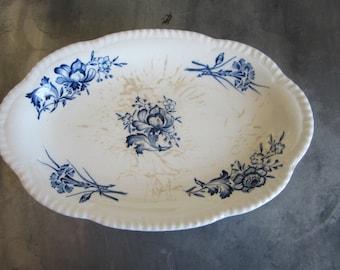 Vintage Transferware Tray / Dish Woods Burslem England Blue & White