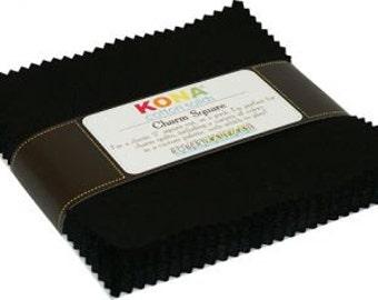 Kona Solid Black Charm Squares
