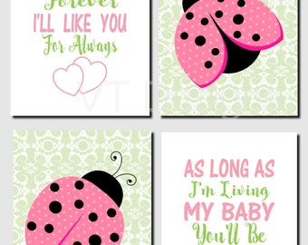Ladybug Wall Art, Baby Girl Nursery Art, Pink Green Nursery Decor, Kids Wall Art, I'll Love You Forever, Set of 4, Prints or Canvas
