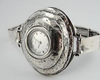 Fine Bracelet Watch, Round 925 silver watch, Jewelry Watch, Women organic Handmade sterling Silver 925 Watch, Gift, Ready to ship ( w 3020)