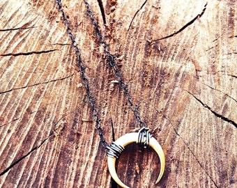 Crescent Moon Mixed Metal Necklace