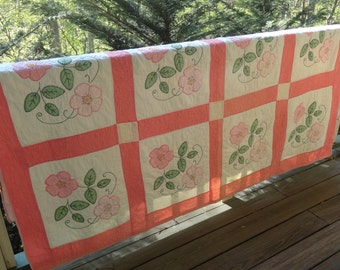 Vintage QUILT 1940s Pink Completely Handstitched with Applique Cherokee Roses North Carolina Amazing Pretty