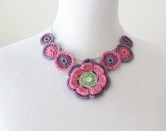 Crochet Rose Purple Flower Lariat, Necklace