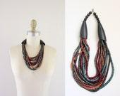 vintage wood multi strand necklace