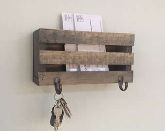 mail holder letter holder mailbox wood mailbox key hooks rustic letters magazines reclaimed wood letter holder keys home decor